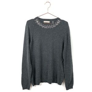 Rebecca Taylor Grey Jewel Embellished Sweater
